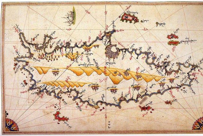 Piri Reis´ kaart van Kreta