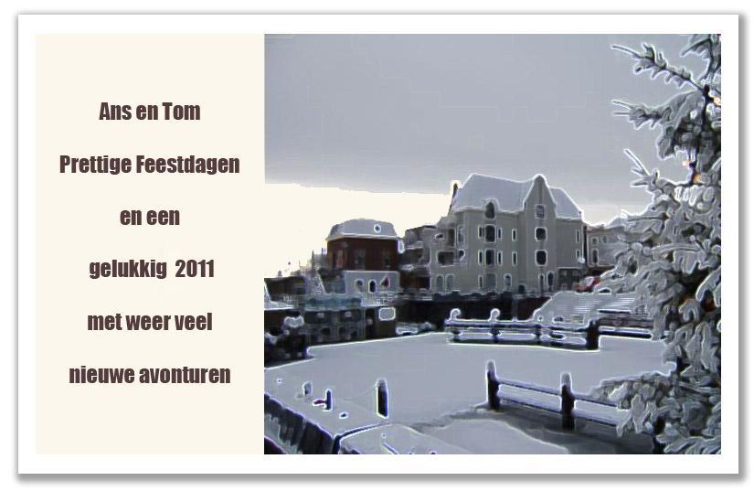 De traditionele jaarlijkse nieuwjaarswens van Wim van Heel toont ditmaal het gebouw bij het sluisje van Gorcum, waar we een appartementje kochten