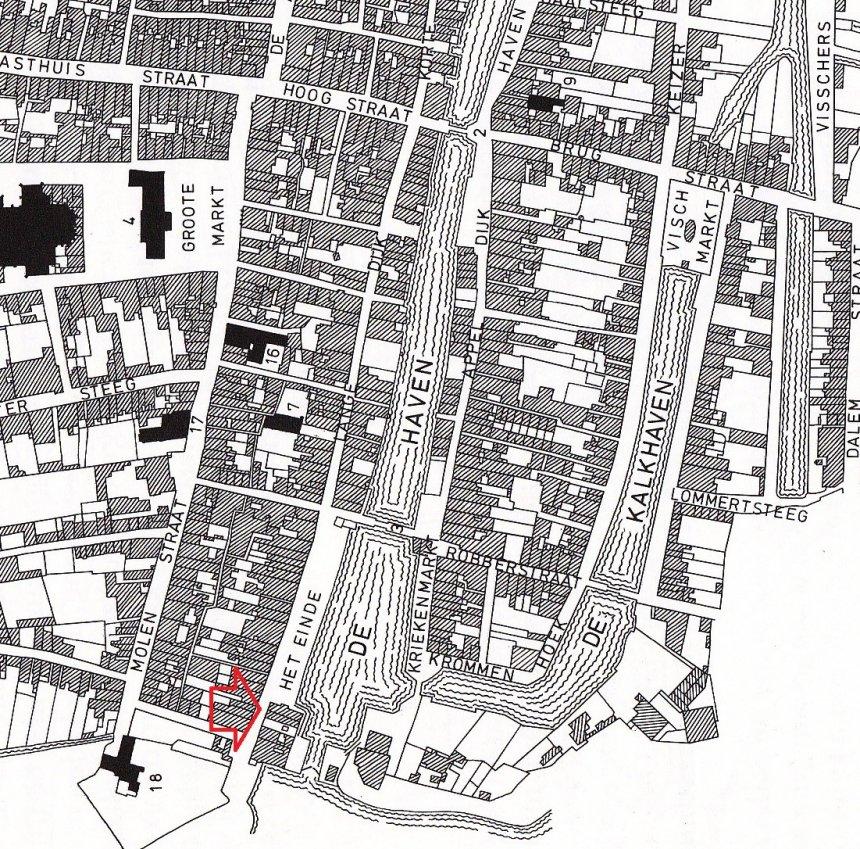 Kadastrale minuut van Gorinchem, 1821. Bij de rode pijl is ons appartementje