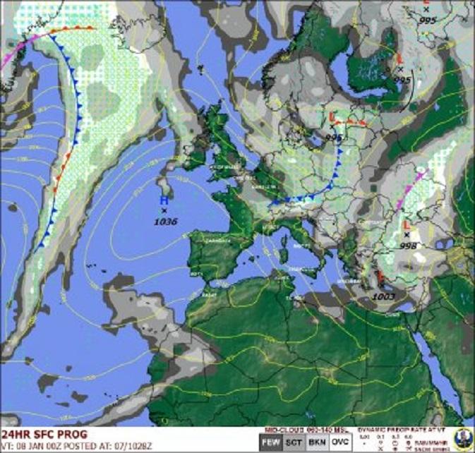 De Sembach 24-uursprognose. Er is morgen kans op turbulentie boven de Alpen en het oostelijk bekken van de Middellandse Zee