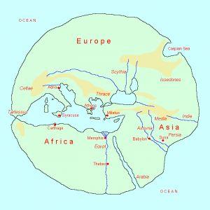Wereldkaart van Hecateus, ± 550 - ± 490 v.Chr.