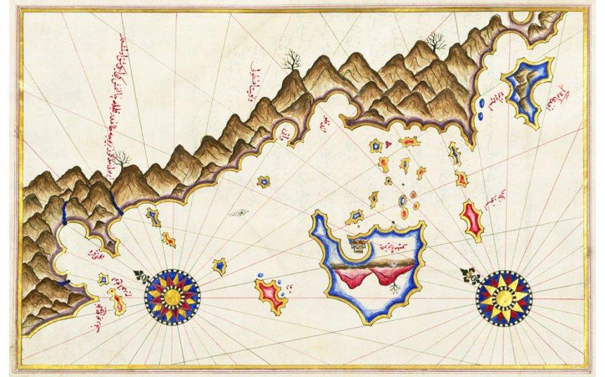 Kaart van het Griekse eilandje Kastelorizo, door Piri Reis,