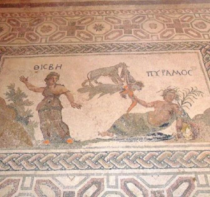Pyramus & Thisbe, mozaïek uit de 2e/3e eeuw AD in Paleo Paphos.