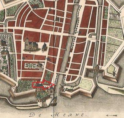 Uitsnede van een kaart van J.M. Martini uit 1741. De pijl wijst de plek aan, waar we nu wonen
