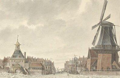 Havenmond van Gorinchem, uit een gouache van Cornelis de Jong, 1799. De stad is weer eens overstroomd