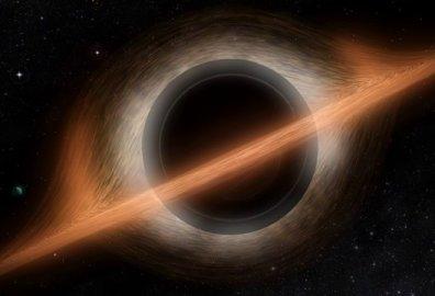 Het zwarte gat in de fim 'Interstellar', vorm gegeven door fysicus Kip Thorne. Zo zou het eruit moeten zien. In oranje de accretieschijf, in grijs en zilverkleur de Einsteinring. Het gat is zelf een bol,waarin de singulariteit eeuwig schuil gaat