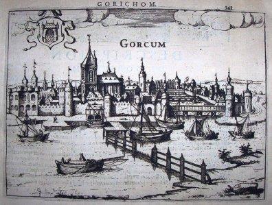 Gorcum met tolhek over de Merwede, getekend door Georg Braun en Franz Hogenberg, Civitates Orbis Terrarum, 1576