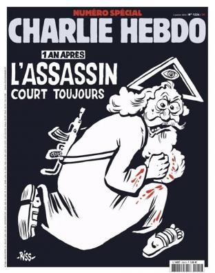 De cover van Charlie Hebdo dat overmorgen uitkomt, een jaar na de moordaanslagen door islamitische terroristen