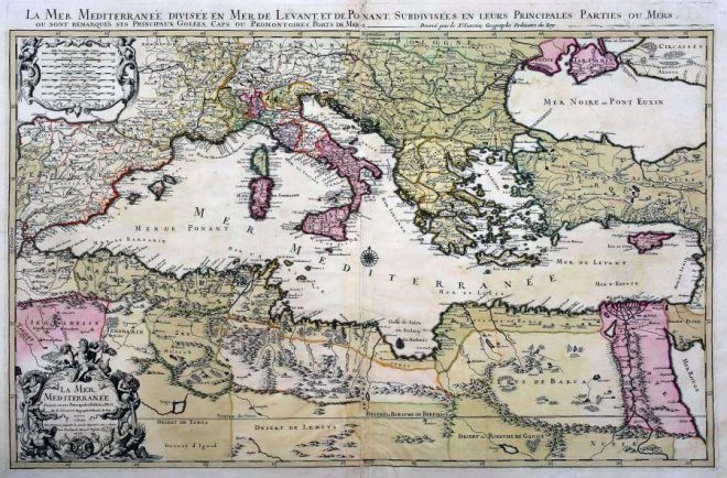Kaart van het Middellandse Zeegebied van Henri Chatelain, Parijs 1719